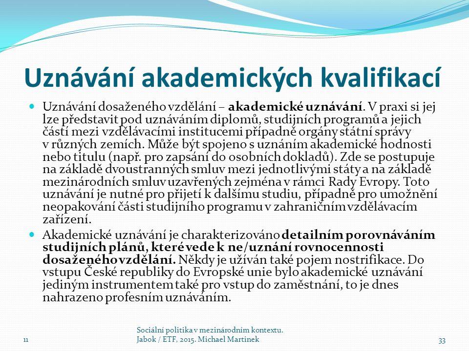 Uznávání akademických kvalifikací Uznávání dosaženého vzdělání – akademické uznávání.