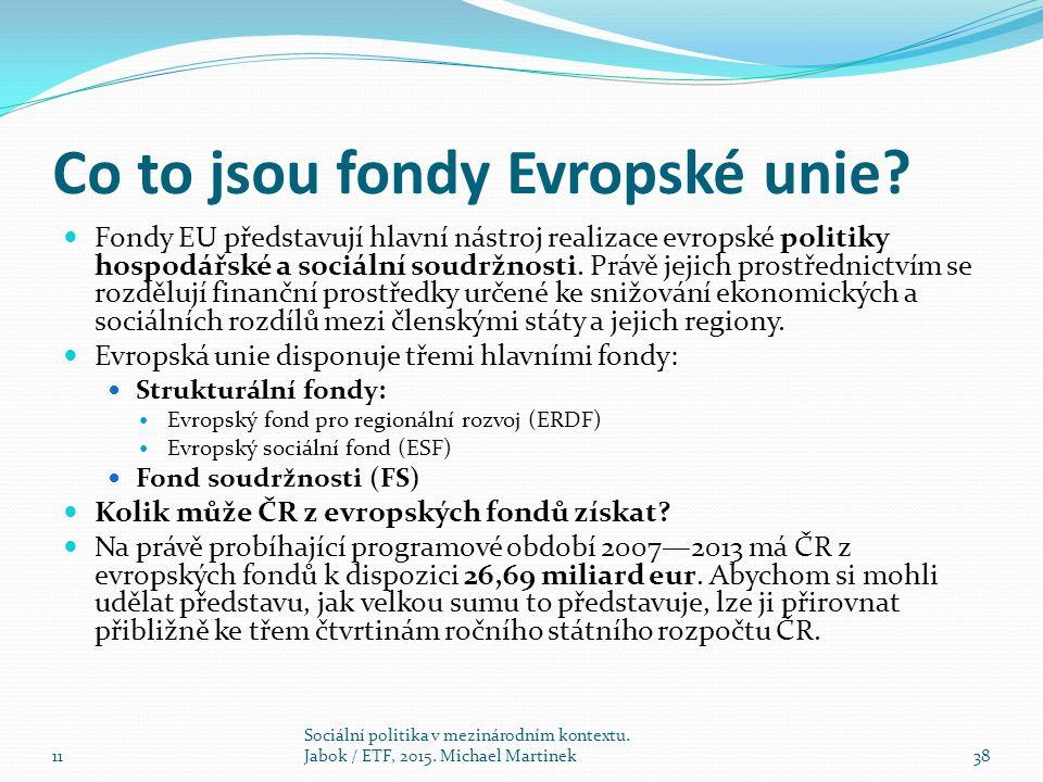 Co to jsou fondy Evropské unie.
