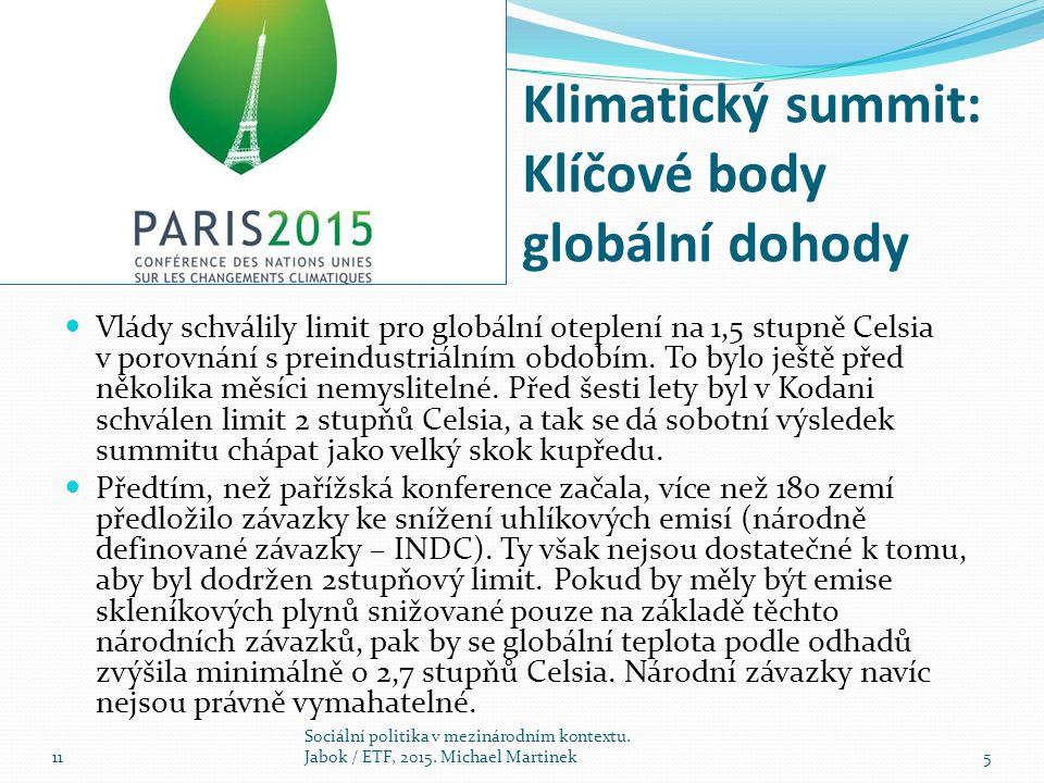 Klimatický summit: Klíčové body globální dohody Vlády schválily limit pro globální oteplení na 1,5 stupně Celsia v porovnání s preindustriálním obdobím.