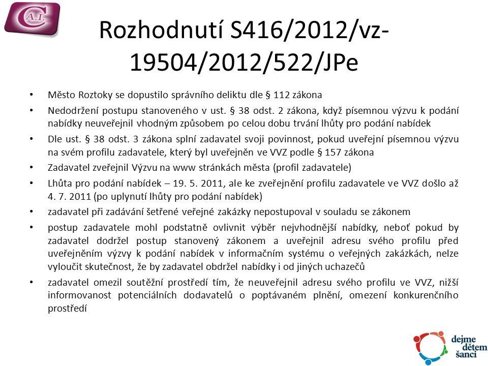 Rozhodnutí S416/2012/vz- 19504/2012/522/JPe Město Roztoky se dopustilo správního deliktu dle § 112 zákona Nedodržení postupu stanoveného v ust.