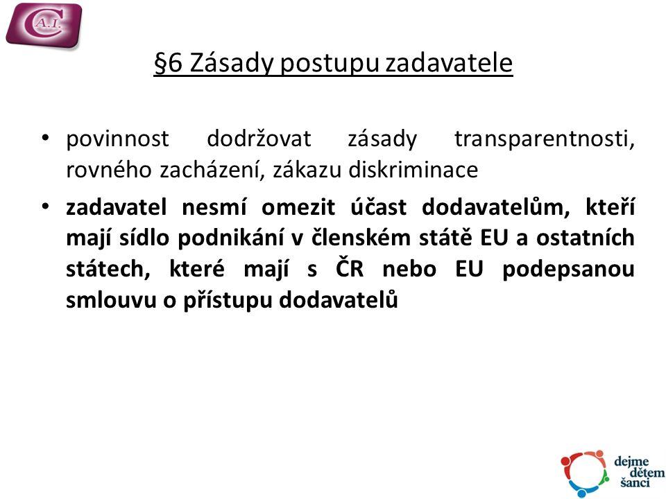 §6 Zásady postupu zadavatele povinnost dodržovat zásady transparentnosti, rovného zacházení, zákazu diskriminace zadavatel nesmí omezit účast dodavatelům, kteří mají sídlo podnikání v členském státě EU a ostatních státech, které mají s ČR nebo EU podepsanou smlouvu o přístupu dodavatelů