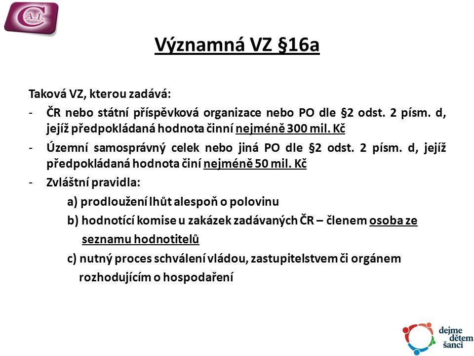 Významná VZ §16a Taková VZ, kterou zadává: -ČR nebo státní příspěvková organizace nebo PO dle §2 odst.