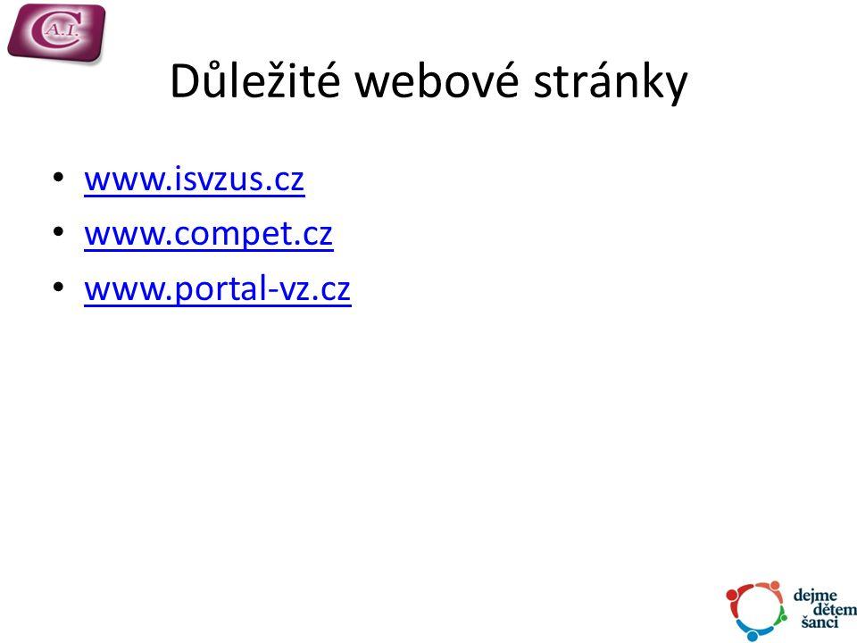 Důležité webové stránky www.isvzus.cz www.compet.cz www.portal-vz.cz