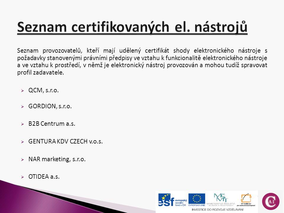 Seznam provozovatelů, kteří mají udělený certifikát shody elektronického nástroje s požadavky stanovenými právními předpisy ve vztahu k funkcionalitě elektronického nástroje a ve vztahu k prostředí, v němž je elektronický nástroj provozován a mohou tudíž spravovat profil zadavatele.