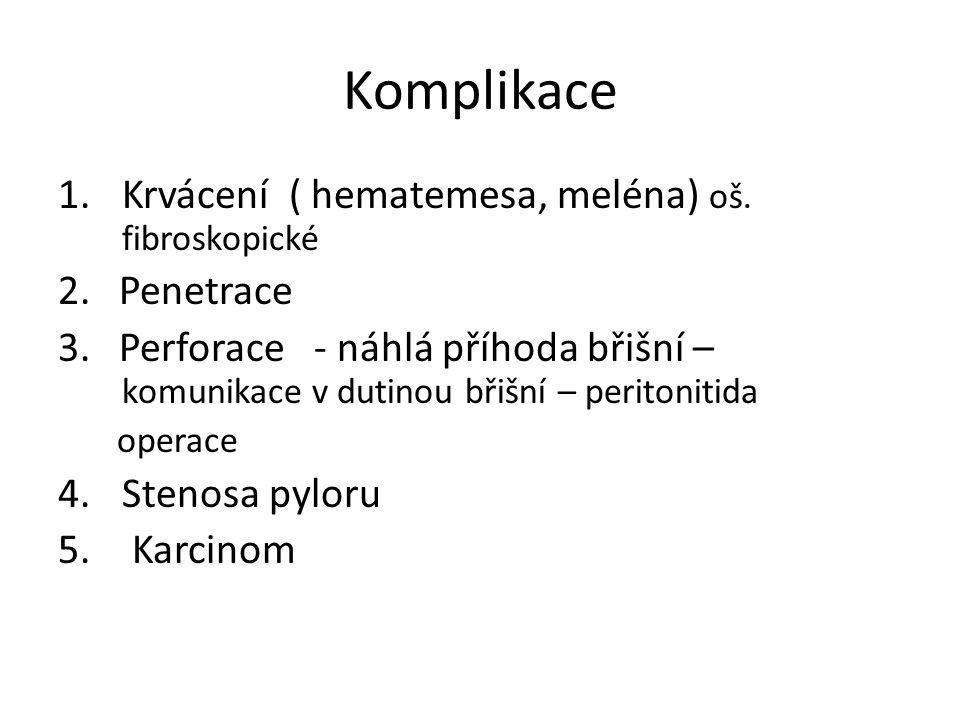 Komplikace 1.Krvácení ( hematemesa, meléna) oš. fibroskopické 2.