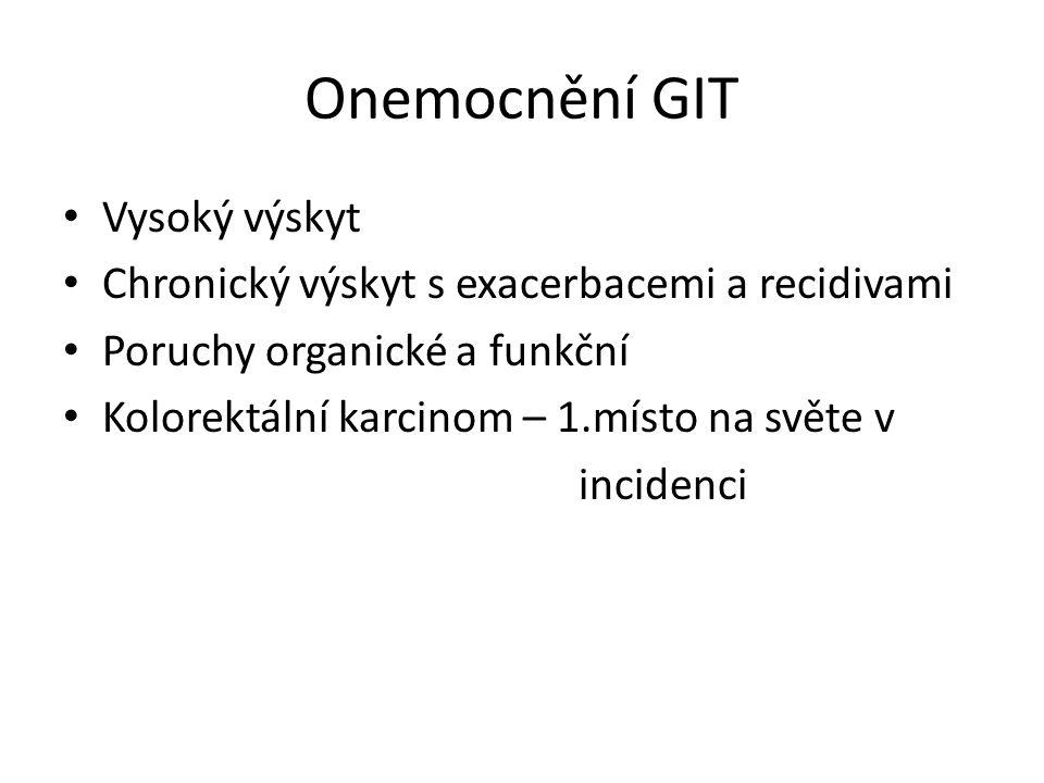 Onemocnění GIT Vysoký výskyt Chronický výskyt s exacerbacemi a recidivami Poruchy organické a funkční Kolorektální karcinom – 1.místo na světe v incidenci