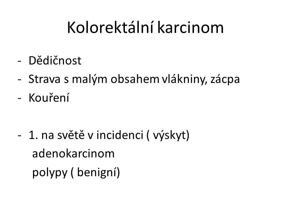 Kolorektální karcinom -Dědičnost -Strava s malým obsahem vlákniny, zácpa -Kouření -1.