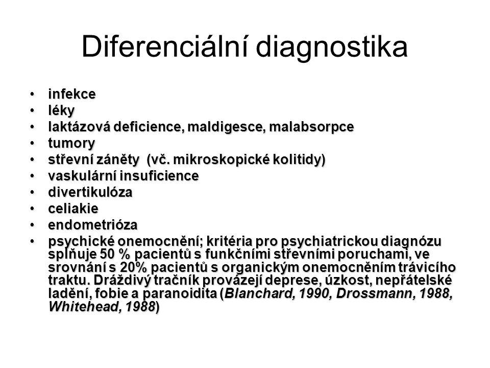 Diferenciální diagnostika infekceinfekce lékyléky laktázová deficience, maldigesce, malabsorpcelaktázová deficience, maldigesce, malabsorpce tumorytumory střevní záněty (vč.