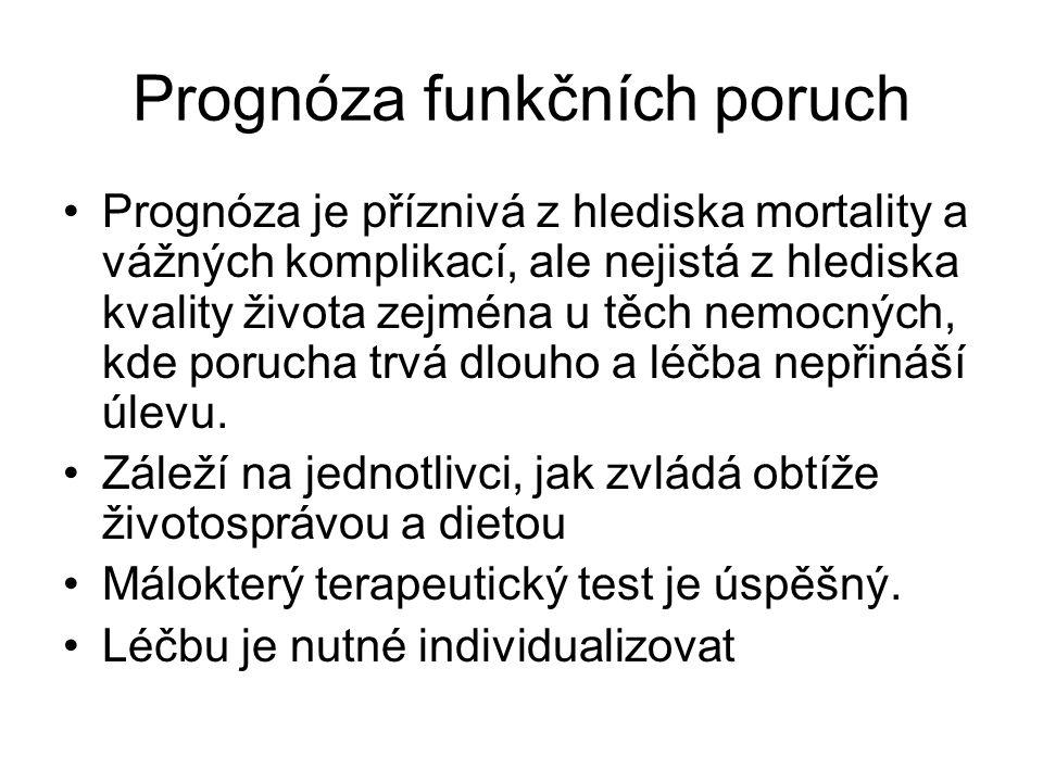 Prognóza funkčních poruch Prognóza je příznivá z hlediska mortality a vážných komplikací, ale nejistá z hlediska kvality života zejména u těch nemocných, kde porucha trvá dlouho a léčba nepřináší úlevu.