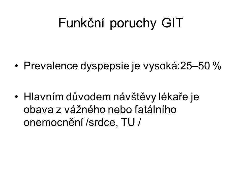 Funkční poruchy GIT Prevalence dyspepsie je vysoká:25–50 % Hlavním důvodem návštěvy lékaře je obava z vážného nebo fatálního onemocnění /srdce, TU /