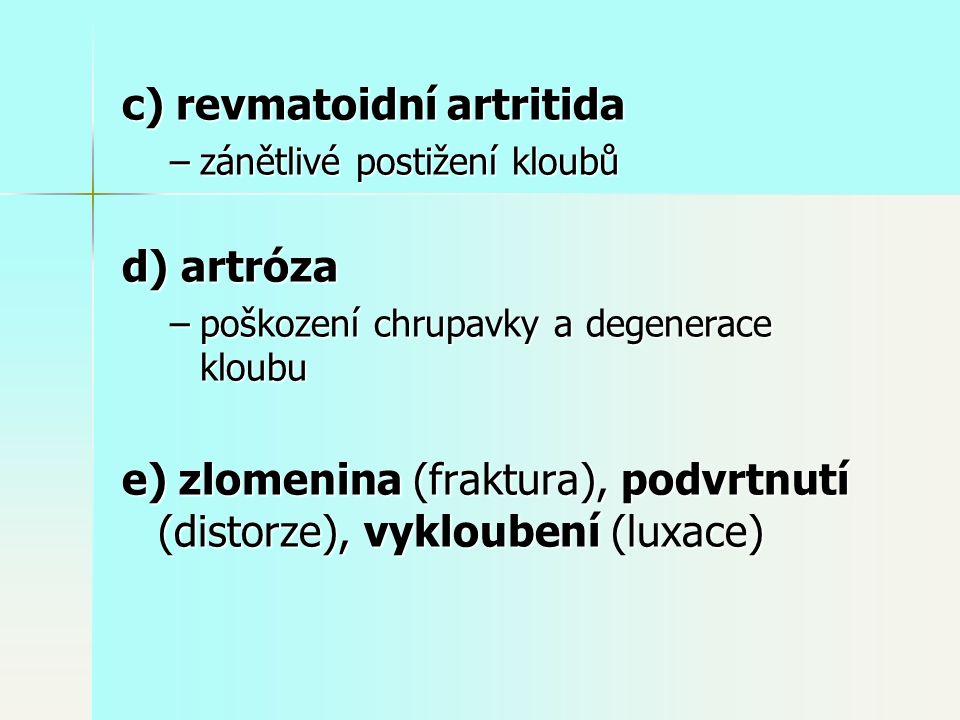c) revmatoidní artritida –zánětlivé postižení kloubů d) artróza –poškození chrupavky a degenerace kloubu e) zlomenina (fraktura), podvrtnutí (distorze), vykloubení (luxace)