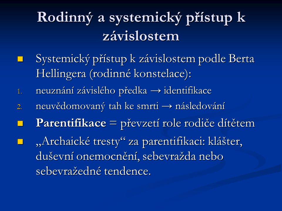 Rodinný a systemický přístup k závislostem Systemický přístup k závislostem podle Berta Hellingera (rodinné konstelace): Systemický přístup k závislostem podle Berta Hellingera (rodinné konstelace): 1.