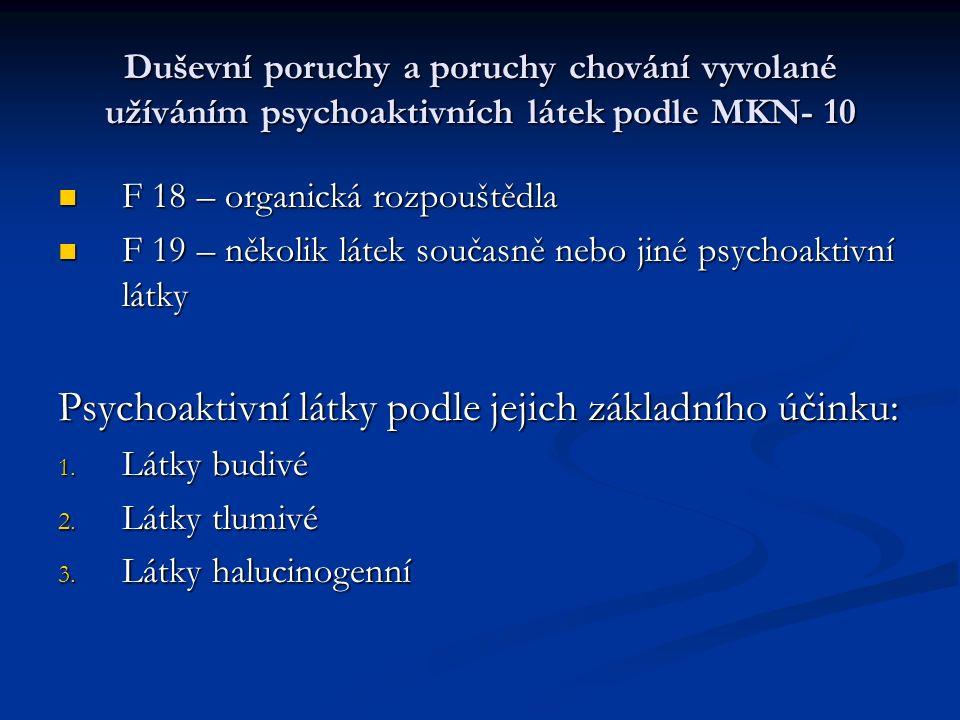 Duševní poruchy a poruchy chování vyvolané užíváním psychoaktivních látek podle MKN- 10 F 18 – organická rozpouštědla F 18 – organická rozpouštědla F 19 – několik látek současně nebo jiné psychoaktivní látky F 19 – několik látek současně nebo jiné psychoaktivní látky Psychoaktivní látky podle jejich základního účinku: 1.