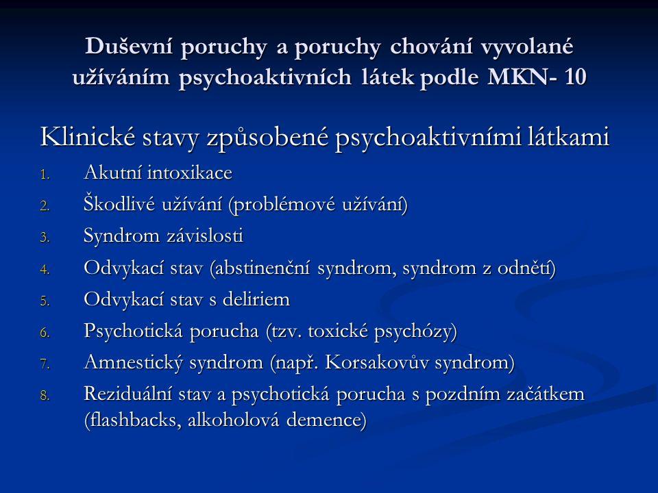 Duševní poruchy a poruchy chování vyvolané užíváním psychoaktivních látek podle MKN- 10 Klinické stavy způsobené psychoaktivními látkami 1.