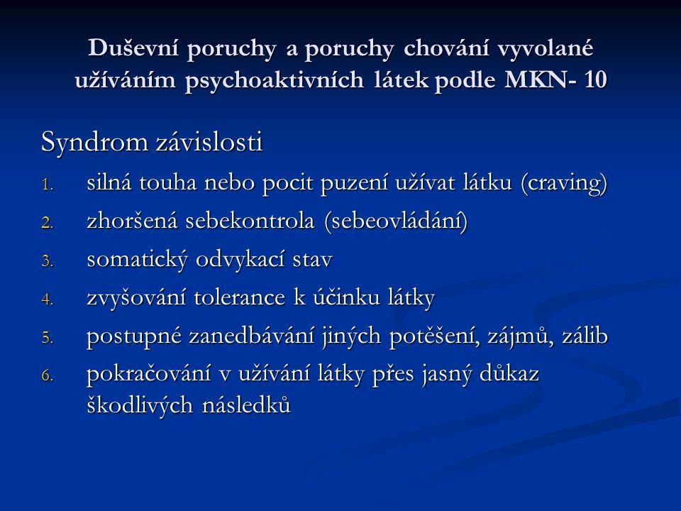 Duševní poruchy a poruchy chování vyvolané užíváním psychoaktivních látek podle MKN- 10 Syndrom závislosti 1.