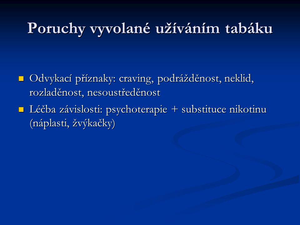 Poruchy vyvolané užíváním tabáku Odvykací příznaky: craving, podrážděnost, neklid, rozladěnost, nesoustředěnost Odvykací příznaky: craving, podrážděnost, neklid, rozladěnost, nesoustředěnost Léčba závislosti: psychoterapie + substituce nikotinu (náplasti, žvýkačky) Léčba závislosti: psychoterapie + substituce nikotinu (náplasti, žvýkačky)
