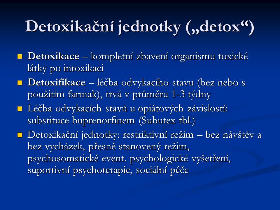 """Detoxikační jednotky (""""detox ) Detoxikace – kompletní zbavení organismu toxické látky po intoxikaci Detoxikace – kompletní zbavení organismu toxické látky po intoxikaci Detoxifikace – léčba odvykacího stavu (bez nebo s použitím farmak), trvá v průměru 1-3 týdny Detoxifikace – léčba odvykacího stavu (bez nebo s použitím farmak), trvá v průměru 1-3 týdny Léčba odvykacích stavů u opiátových závislostí: substituce buprenorfinem (Subutex tbl.) Léčba odvykacích stavů u opiátových závislostí: substituce buprenorfinem (Subutex tbl.) Detoxikační jednotky: restriktivní režim – bez návštěv a bez vycházek, přesně stanovený režim, psychosomatické event."""