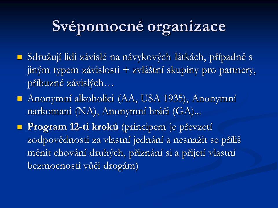 Svépomocné organizace Sdružují lidi závislé na návykových látkách, případně s jiným typem závislosti + zvláštní skupiny pro partnery, příbuzné závislých… Sdružují lidi závislé na návykových látkách, případně s jiným typem závislosti + zvláštní skupiny pro partnery, příbuzné závislých… Anonymní alkoholici (AA, USA 1935), Anonymní narkomani (NA), Anonymní hráči (GA)...