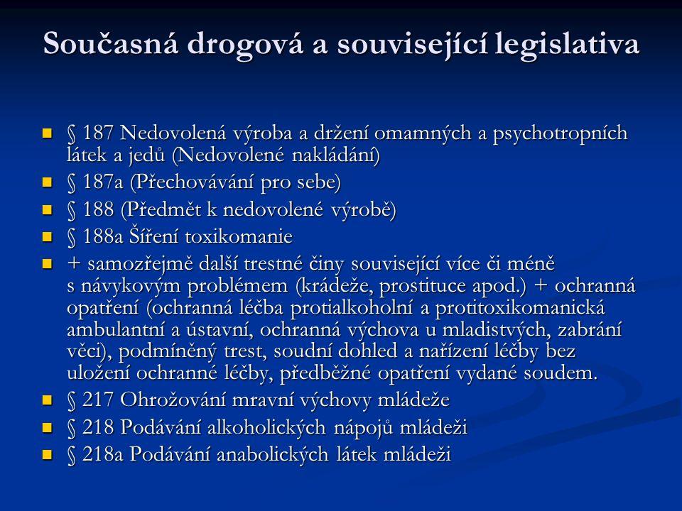 Současná drogová a související legislativa § 187 Nedovolená výroba a držení omamných a psychotropních látek a jedů (Nedovolené nakládání) § 187 Nedovolená výroba a držení omamných a psychotropních látek a jedů (Nedovolené nakládání) § 187a (Přechovávání pro sebe) § 187a (Přechovávání pro sebe) § 188 (Předmět k nedovolené výrobě) § 188 (Předmět k nedovolené výrobě) § 188a Šíření toxikomanie § 188a Šíření toxikomanie + samozřejmě další trestné činy související více či méně s návykovým problémem (krádeže, prostituce apod.) + ochranná opatření (ochranná léčba protialkoholní a protitoxikomanická ambulantní a ústavní, ochranná výchova u mladistvých, zabrání věci), podmíněný trest, soudní dohled a nařízení léčby bez uložení ochranné léčby, předběžné opatření vydané soudem.