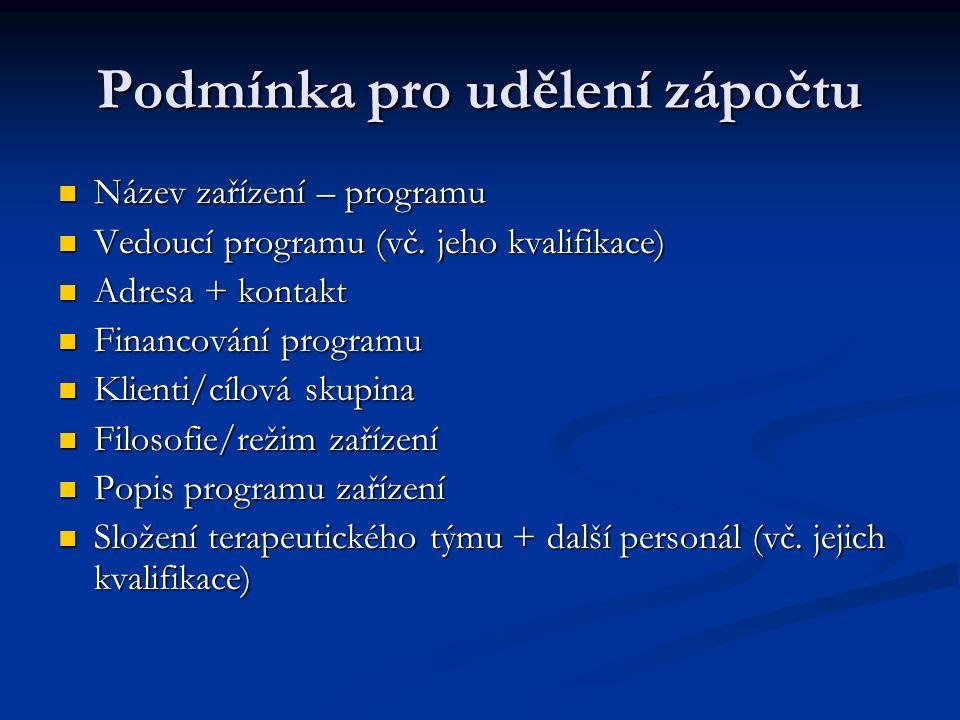 Podmínka pro udělení zápočtu Název zařízení – programu Název zařízení – programu Vedoucí programu (vč.
