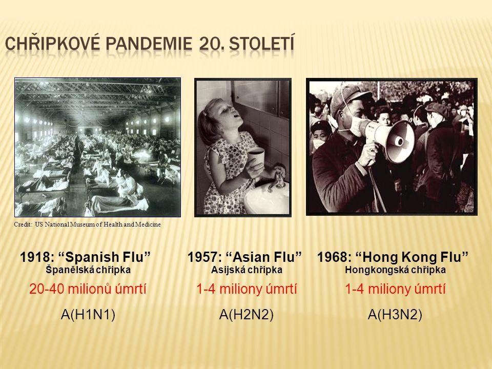 A(H1N1)A(H2N2)A(H3N2) 1918: Spanish Flu 1957: Asian Flu 1968: Hong Kong Flu 20-40 milionů úmrtí1-4 miliony úmrtí Credit: US National Museum of Health and Medicine Španělská chřipkaAsijská chřipkaHongkongská chřipka