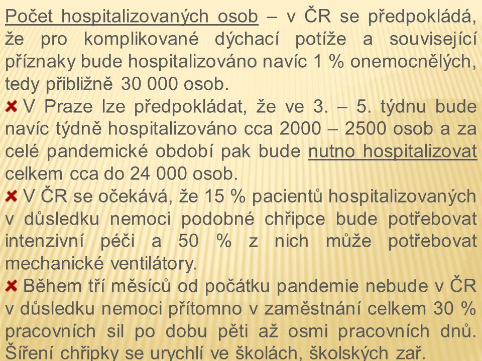 Počet hospitalizovaných osob – v ČR se předpokládá, že pro komplikované dýchací potíže a související příznaky bude hospitalizováno navíc 1 % onemocnělých, tedy přibližně 30 000 osob.