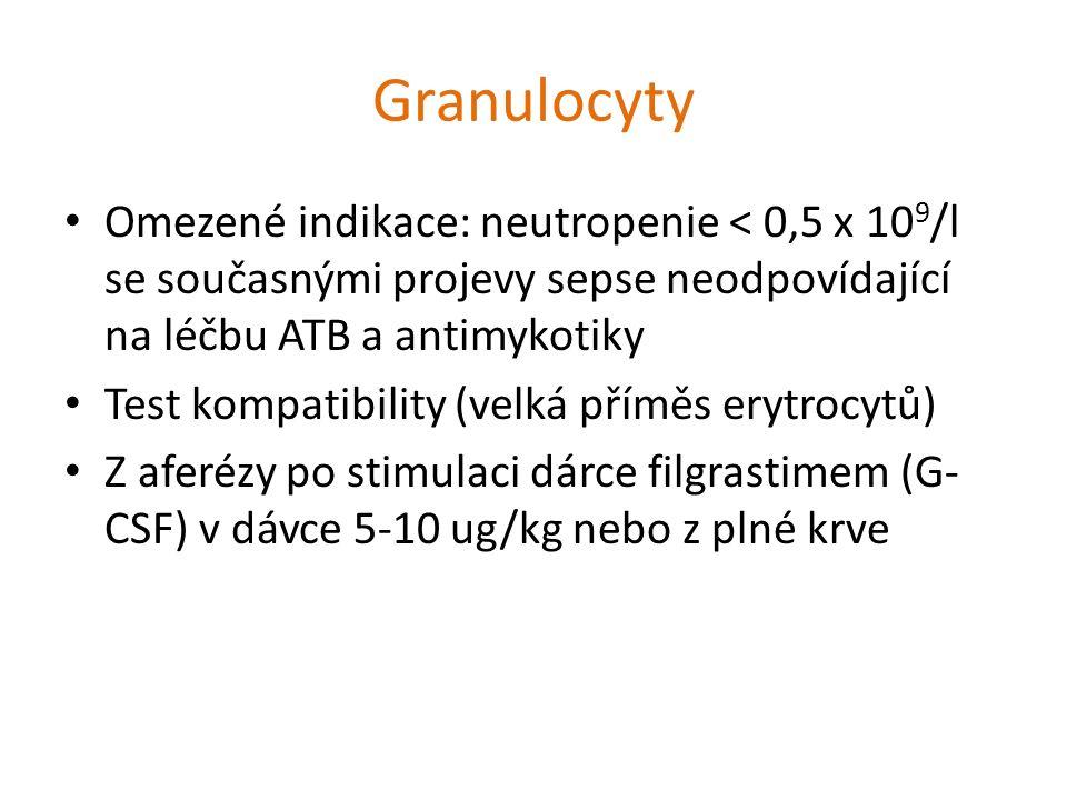 Granulocyty Omezené indikace: neutropenie < 0,5 x 10 9 /l se současnými projevy sepse neodpovídající na léčbu ATB a antimykotiky Test kompatibility (v