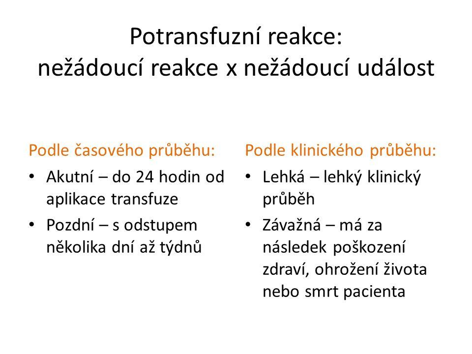 Potransfuzní reakce: nežádoucí reakce x nežádoucí událost Podle časového průběhu: Akutní – do 24 hodin od aplikace transfuze Pozdní – s odstupem někol