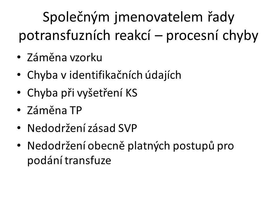 Společným jmenovatelem řady potransfuzních reakcí – procesní chyby Záměna vzorku Chyba v identifikačních údajích Chyba při vyšetření KS Záměna TP Nedo