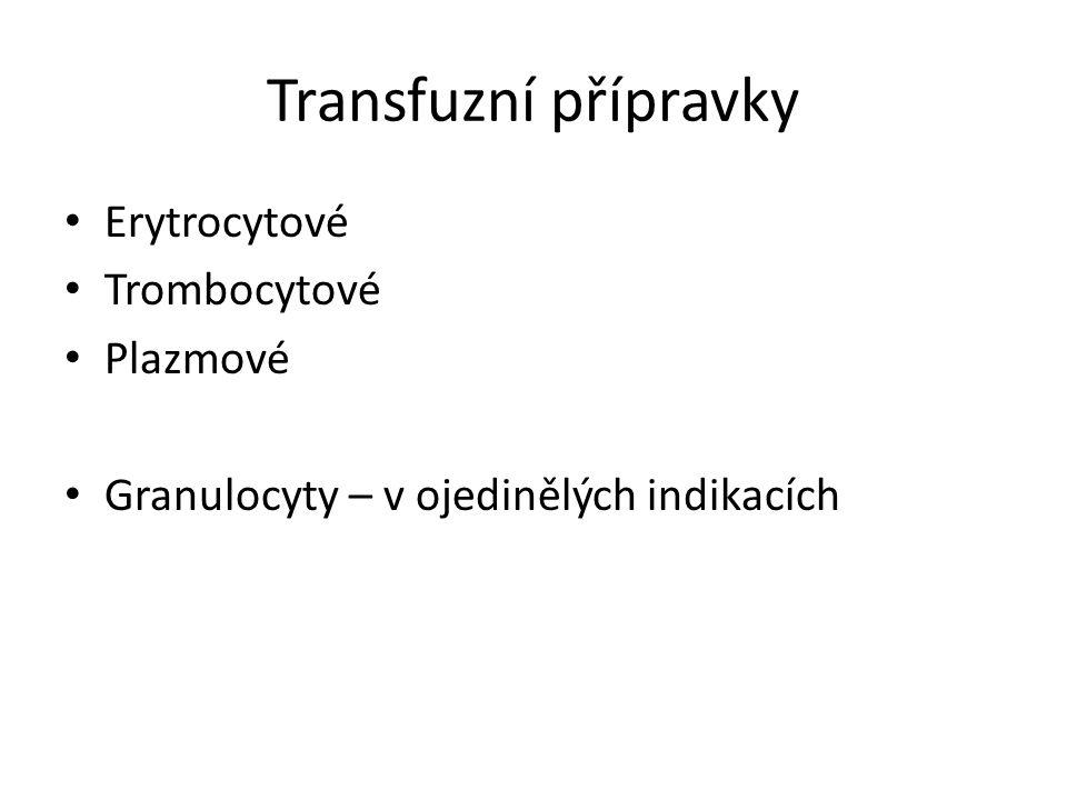 Transfuzní přípravky Erytrocytové Trombocytové Plazmové Granulocyty – v ojedinělých indikacích