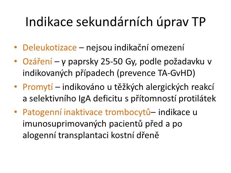 Indikace sekundárních úprav TP Deleukotizace – nejsou indikační omezení Ozáření – γ paprsky 25-50 Gy, podle požadavku v indikovaných případech (preven