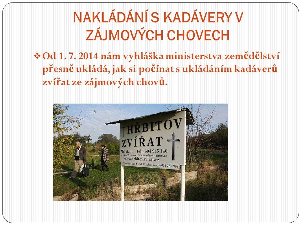 NAKLÁDÁNÍ S KADÁVERY V ZÁJMOVÝCH CHOVECH  Od 1. 7.