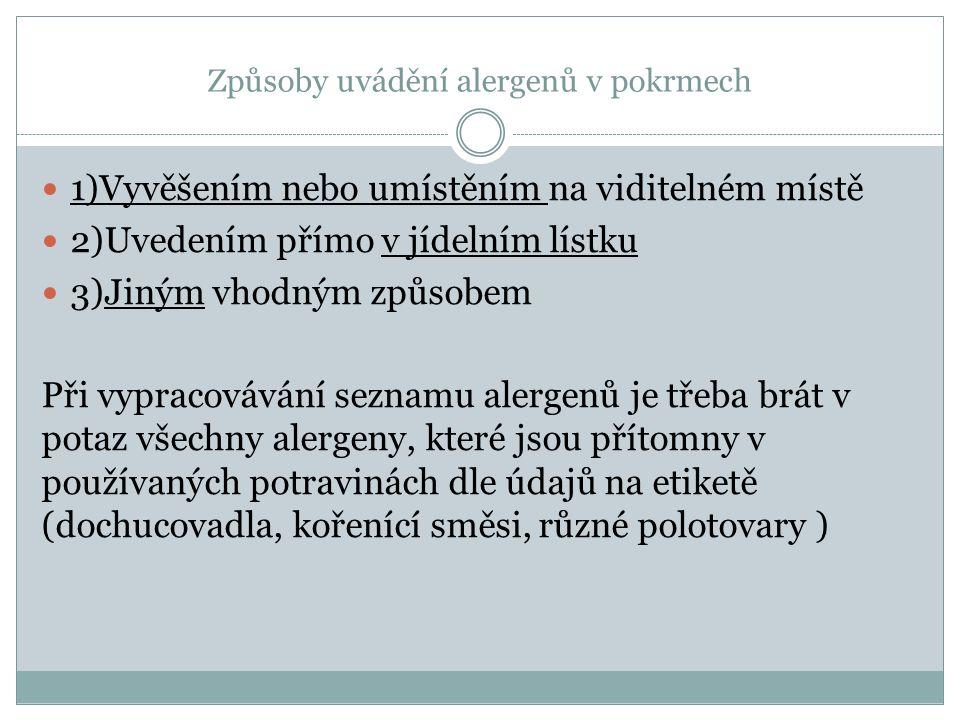 Způsoby uvádění alergenů v pokrmech 1)Vyvěšením nebo umístěním na viditelném místě 2)Uvedením přímo v jídelním lístku 3)Jiným vhodným způsobem Při vypracovávání seznamu alergenů je třeba brát v potaz všechny alergeny, které jsou přítomny v používaných potravinách dle údajů na etiketě (dochucovadla, kořenící směsi, různé polotovary )