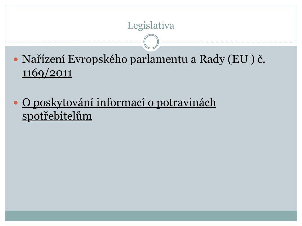 Legislativa Nařízení Evropského parlamentu a Rady (EU ) č. 1169/2011 O poskytování informací o potravinách spotřebitelům