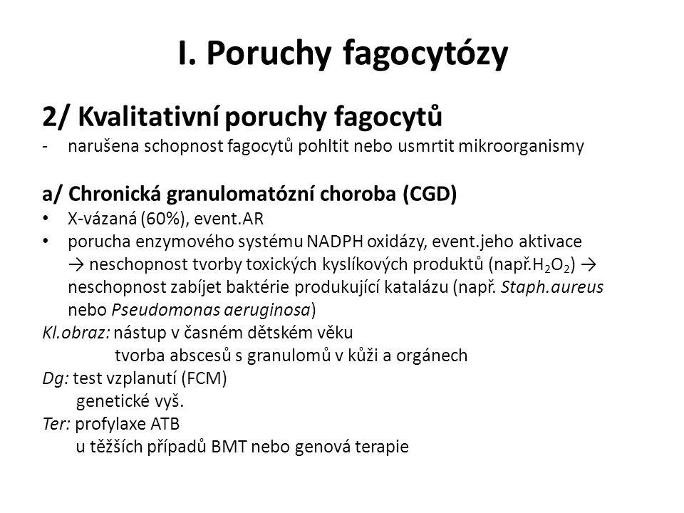 I. Poruchy fagocytózy 2/ Kvalitativní poruchy fagocytů -narušena schopnost fagocytů pohltit nebo usmrtit mikroorganismy a/ Chronická granulomatózní ch