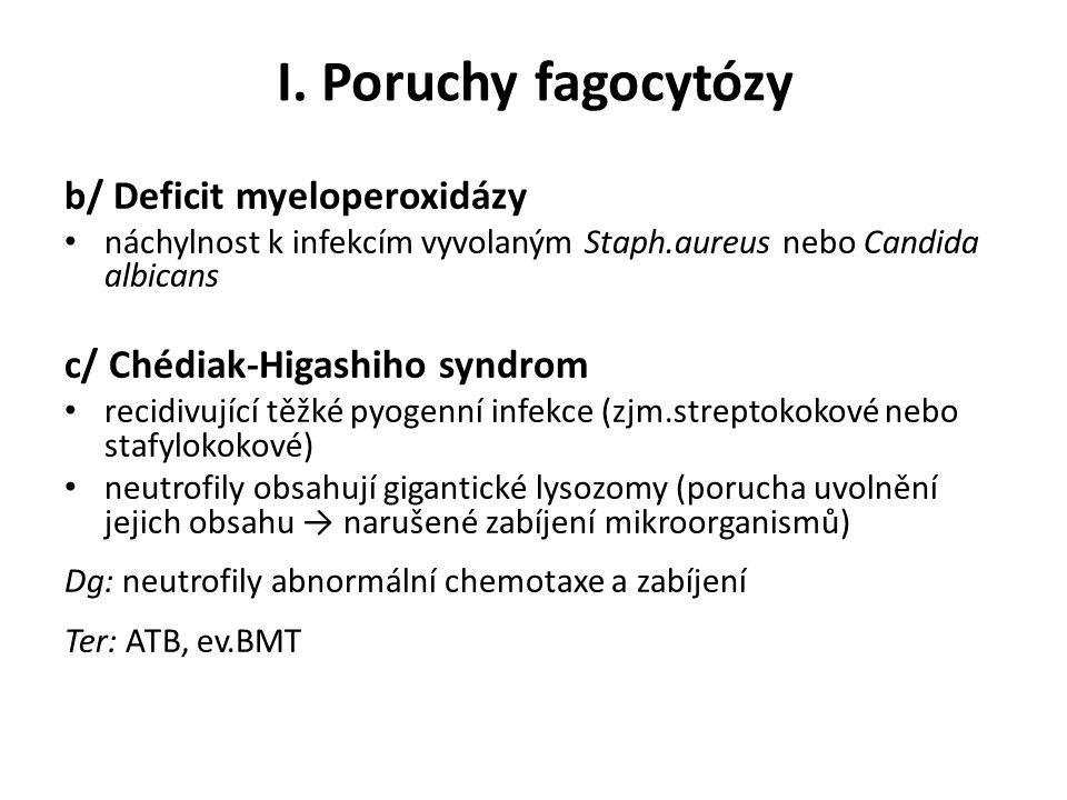 I. Poruchy fagocytózy b/ Deficit myeloperoxidázy náchylnost k infekcím vyvolaným Staph.aureus nebo Candida albicans c/ Chédiak-Higashiho syndrom recid