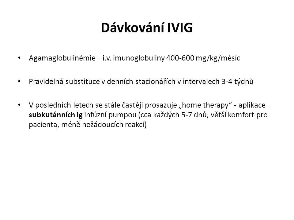 Dávkování IVIG Agamaglobulinémie – i.v. imunoglobuliny 400-600 mg/kg/měsíc Pravidelná substituce v denních stacionářích v intervalech 3-4 týdnů V posl