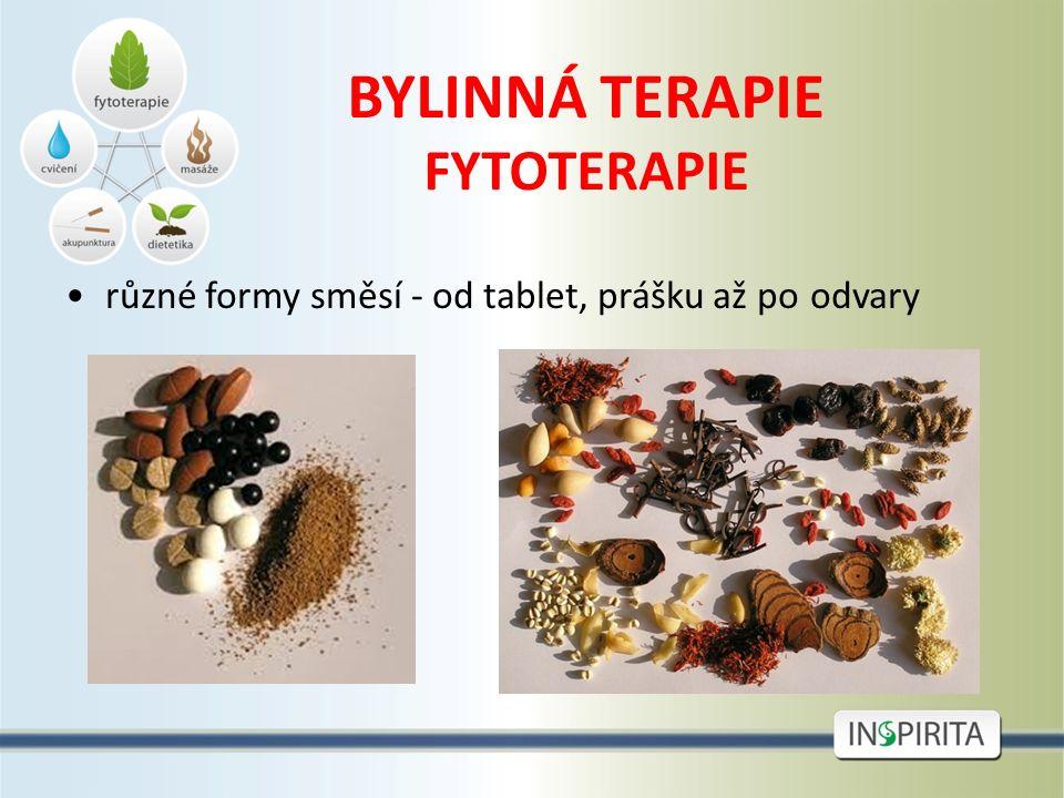 BYLINNÁ TERAPIE FYTOTERAPIE různé formy směsí - od tablet, prášku až po odvary