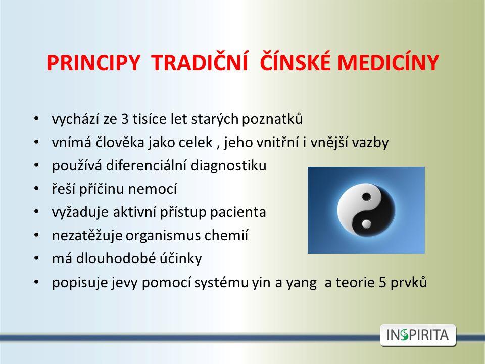 PRINCIPY TRADIČNÍ ČÍNSKÉ MEDICÍNY vychází ze 3 tisíce let starých poznatků vnímá člověka jako celek, jeho vnitřní i vnější vazby používá diferenciální diagnostiku řeší příčinu nemocí vyžaduje aktivní přístup pacienta nezatěžuje organismus chemií má dlouhodobé účinky popisuje jevy pomocí systému yin a yang a teorie 5 prvků