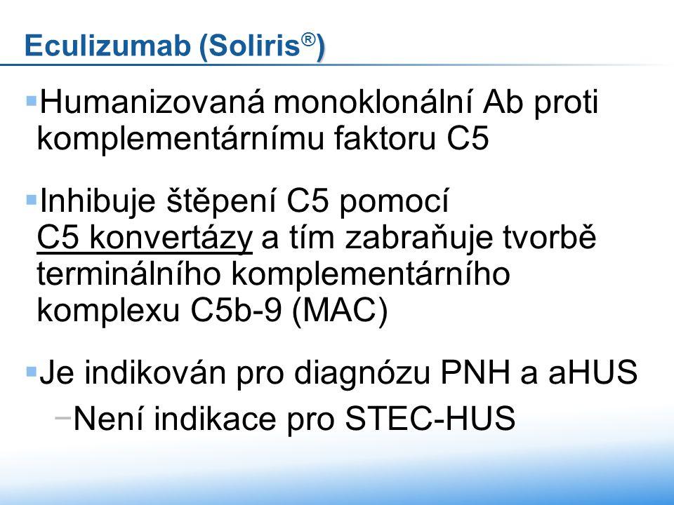  Humanizovaná monoklonální Ab proti komplementárnímu faktoru C5  Inhibuje štěpení C5 pomocí C5 konvertázy a tím zabraňuje tvorbě terminálního komplementárního komplexu C5b-9 (MAC) C5 konvertázy  Je indikován pro diagnózu PNH a aHUS −Není indikace pro STEC-HUS ) Eculizumab (Soliris ® )