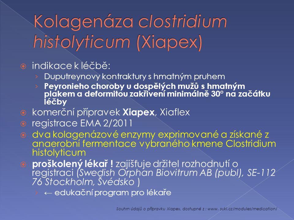  indikace k léčbě: › Duputreynovy kontraktury s hmatným pruhem › Peyronieho choroby u dospělých mužů s hmatným plakem a deformitou zakřivení minimálně 30° na začátku léčby  komerční přípravek Xiapex, Xiaflex  registrace EMA 2/2011  dva kolagenázové enzymy exprimované a získané z anaerobní fermentace vybraného kmene Clostridium histolyticum  proškolený lékař .