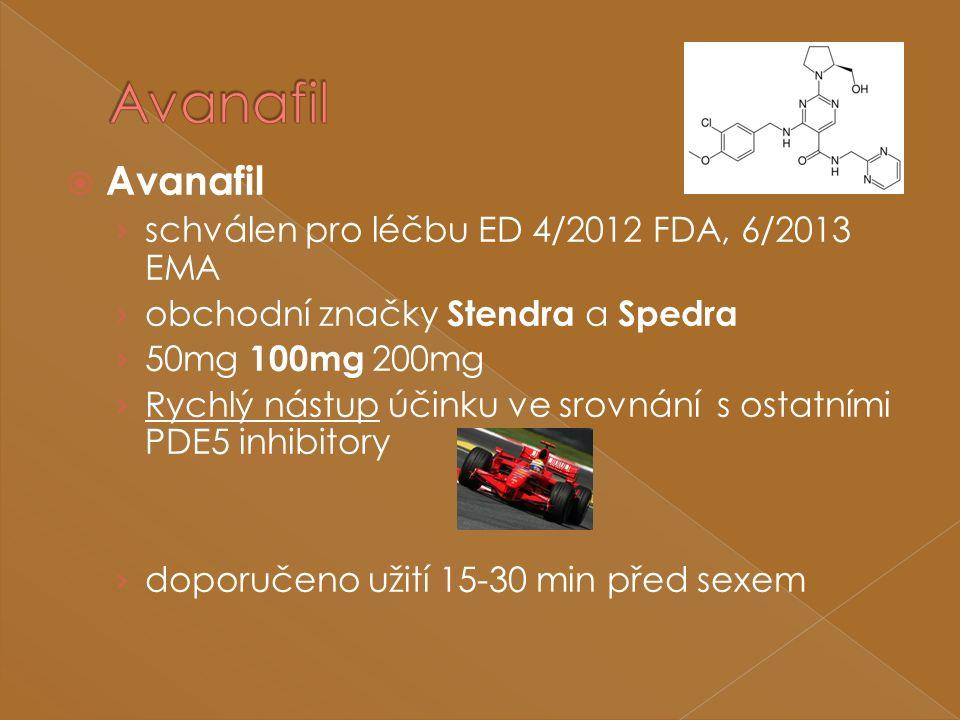  Avanafil › schválen pro léčbu ED 4/2012 FDA, 6/2013 EMA › obchodní značky Stendra a Spedra › 50mg 100mg 200mg › Rychlý nástup účinku ve srovnání s ostatními PDE5 inhibitory › doporučeno užití 15-30 min před sexem