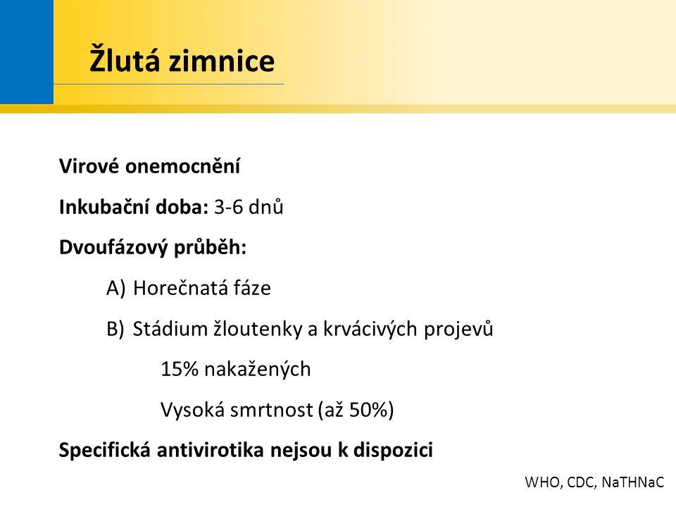 Žlutá zimnice Virové onemocnění Inkubační doba: 3-6 dnů Dvoufázový průběh: A) Horečnatá fáze B) Stádium žloutenky a krvácivých projevů 15% nakažených Vysoká smrtnost (až 50%) Specifická antivirotika nejsou k dispozici WHO, CDC, NaTHNaC