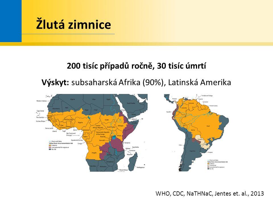 Žlutá zimnice 200 tisíc případů ročně, 30 tisíc úmrtí Výskyt: subsaharská Afrika (90%), Latinská Amerika WHO, CDC, NaTHNaC, Jentes et.