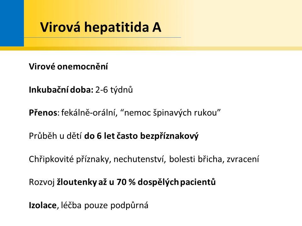 Virová hepatitida A Virové onemocnění Inkubační doba: 2-6 týdnů Přenos: fekálně-orální, nemoc špinavých rukou Průběh u dětí do 6 let často bezpříznakový Chřipkovité příznaky, nechutenství, bolesti břicha, zvracení Rozvoj žloutenky až u 70 % dospělých pacientů Izolace, léčba pouze podpůrná
