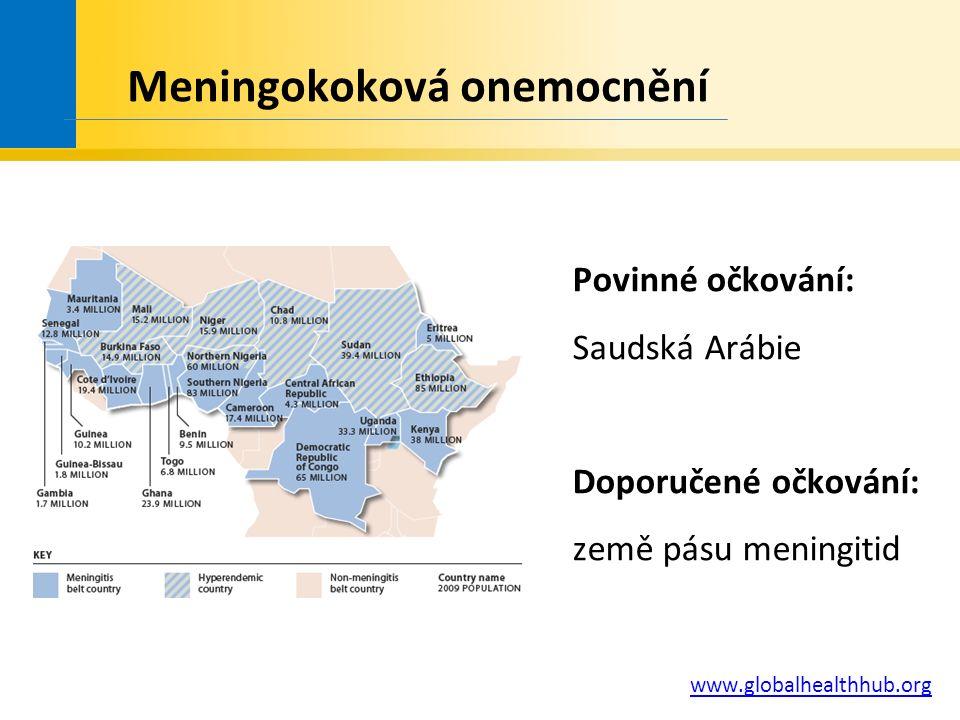 Povinné očkování: Saudská Arábie Doporučené očkování: země pásu meningitid www.globalhealthhub.org Meningokoková onemocnění