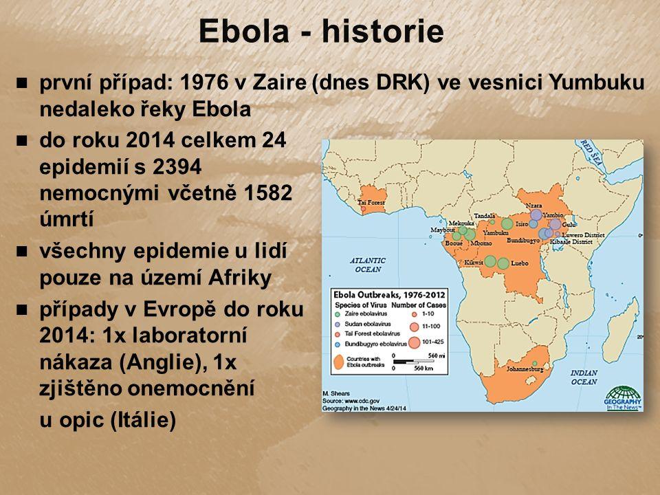 do roku 2014 celkem 24 epidemií s 2394 nemocnými včetně 1582 úmrtí všechny epidemie u lidí pouze na území Afriky případy v Evropě do roku 2014: 1x laboratorní nákaza (Anglie), 1x zjištěno onemocnění u opic (Itálie) první případ: 1976 v Zaire (dnes DRK) ve vesnici Yumbuku nedaleko řeky Ebola