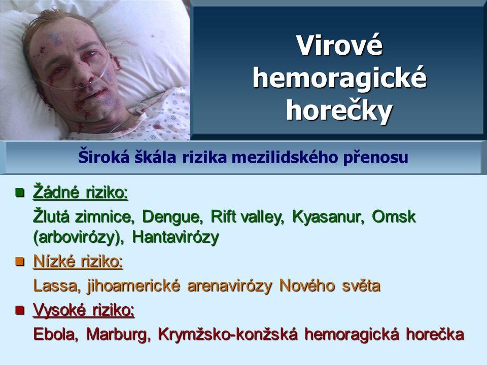 Virové hemoragické horečky Žádné riziko: Žádné riziko: Žlutá zimnice, Dengue, Rift valley, Kyasanur, Omsk (arbovirózy), Hantavirózy Nízké riziko: Nízké riziko: Lassa, jihoamerické arenavirózy Nového světa Vysoké riziko: Vysoké riziko: Ebola, Marburg, Krymžsko-konžská hemoragická horečka Široká škála rizika mezilidského přenosu