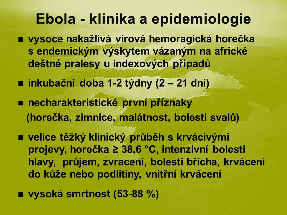 vysoce nakažlivá virová hemoragická horečka s endemickým výskytem vázaným na africké deštné pralesy u indexových případů inkubační doba 1-2 týdny (2 – 21 dní) necharakteristické první příznaky (horečka, zimnice, malátnost, bolesti svalů) velice těžký klinický průběh s krvácivými projevy, horečka ≥ 38,6 °C, intenzivní bolesti hlavy, průjem, zvracení, bolesti břicha, krvácení do kůže nebo podlitiny, vnitřní krvácení vysoká smrtnost (53-88 %)