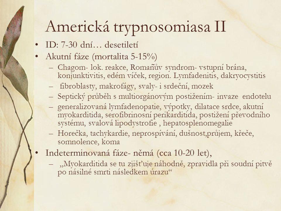 Americká trypnosomiasa II ID: 7-30 dní… desetiletí Akutní fáze (mortalita 5-15%) –Chagom- lok. reakce, Roman ͂ ův syndrom- vstupní brána, konjunktivit